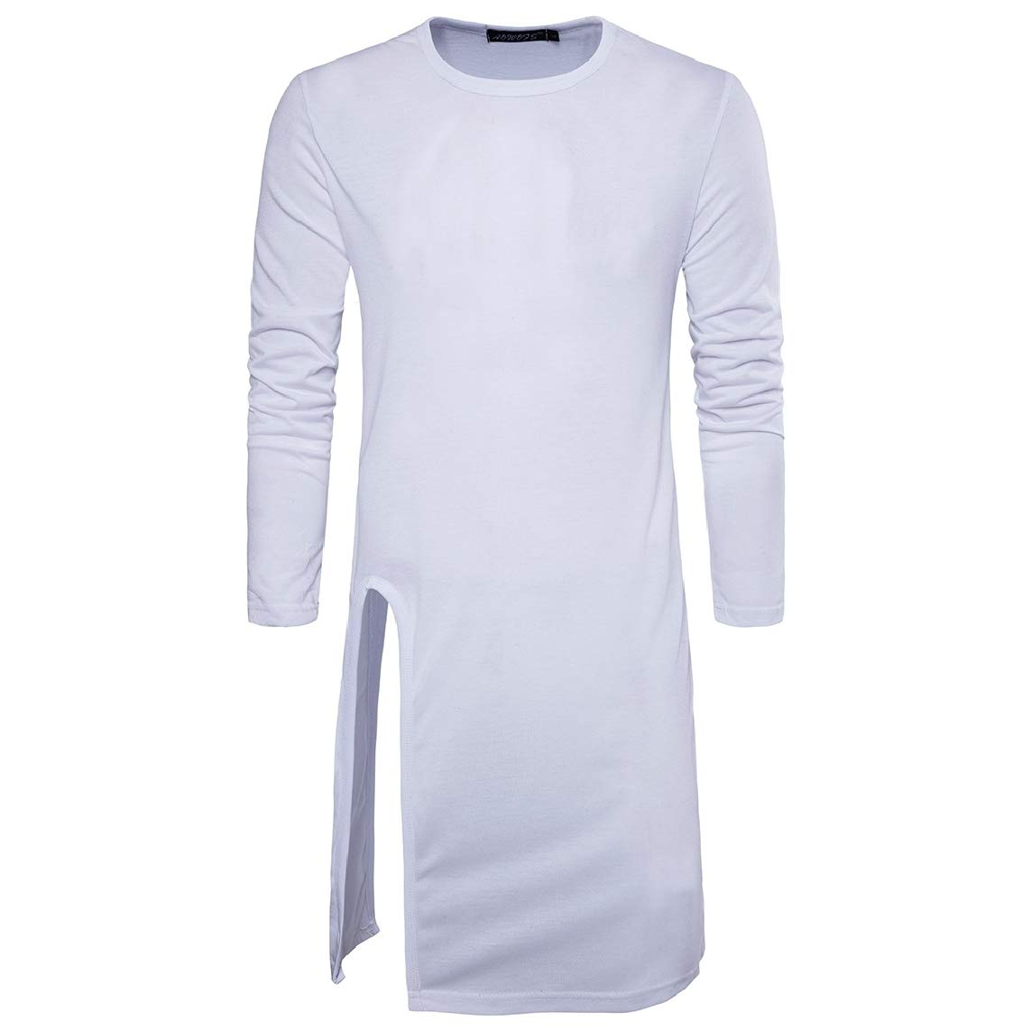 LinkShow Mens Pullover Long-Sleeve Hip Hop O-Neck Split Solid T-Shirt Top