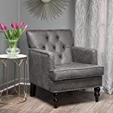Great Deal Furniture 300100 Herres Slate Grey Club, Fabric Chair with Studded Nailhead Accents