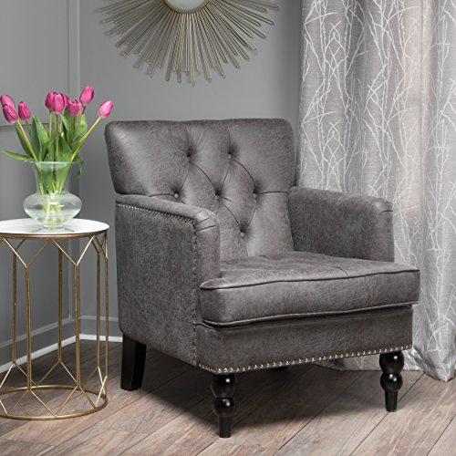 Great Deal Furniture 300100 Herres Slate Grey Club, Fabric Chair with Studded Nailhead Accents ()