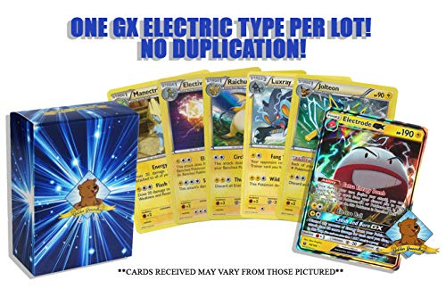 (10 Random Electric Pokemon Card Lot - Featuring 1 GX Electric Type - A Mix of Foils - Rares Common/Uncommons! No Duplication! Includes Golden Groundhog Storage Box!)