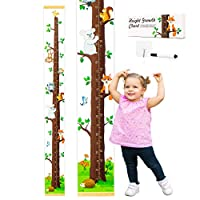 Evelto Height Growth Chart for Kids - Measuring Canvas Ruler, Funny Colorful Animals Design, Nursery Hanging Wall Decor for Boy Girl, Perfect Baby Shower Newborn Gift, Size in Foot Inches Centimeters