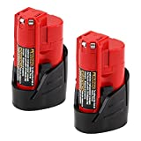 2500mAh Replacement Lithium-ion for Milwaukee M12 12V Battery XC 48-11-2410 48-11-2420 48-11-2411 Cordless Tools Batteries - 2 Pack