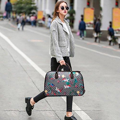 LeahWard® Frauen Girls Holdall Faux Leder Gepäck Tasche Hand Gepäck Reise Koffer Urlaub Damen Taschen CW02 (L Schwarz Eule) L Rot Eule