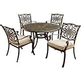 Hanover TRADITIONS5PC Traditions 5-Piece Deep-Cushioned Outdoor Dining Set, Includes 4 Deep Cushioned Dining Chairs and 48-Inch Round Dining Table For Sale