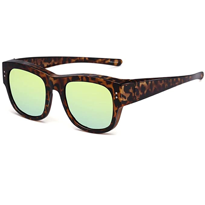 d408804c3 CAXMAN Oversized Fits Over Glasses Sunglasses for Prescription Glasses  Tortoise Frame with Polarized Gold Mirrored Lens