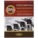 KOH-I-Noor Gioconda 8694 Artificial Extra Charcoals Pack of 4 Various Gradations