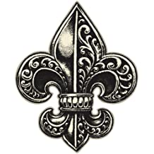 DETAILED ORNATE FLEUR DE LIS BLACK CREAM WHITE Vinyl Decal Sticker Two in One Pack (4 Inches Tall)