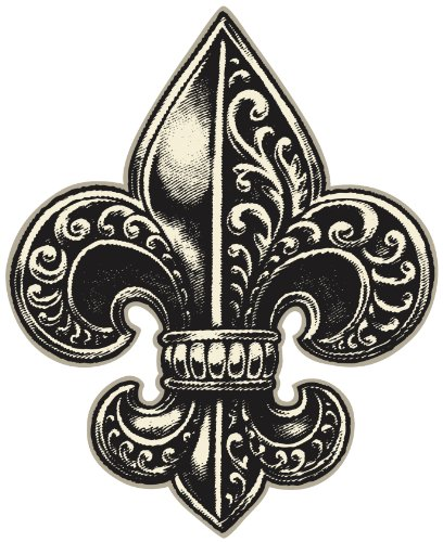 DETAILED ORNATE FLEUR DE LIS BLACK CREAM WHITE Vinyl Decal Sticker Two in One Pack (4 Inches -