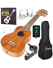Kmise Soprano Ukulele Professional Mahogany Instrument 21 Inch Hawaiian Ukalalee for Beginner With Ukelele Starter Kit (Free Online Lesson Bag Tuner Strap Replacement Strings Instruction Booklet)