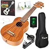 Ukulele Soprano Beginner Mahogany 21 Inch Vintage Hawaiian Ukelele With Uke Starter Pack Kit ( Gig Bag Tuner Strap String Instruction Booklet )