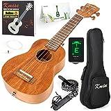 Soprano Ukulele Beginner Ukelele Start Kit Mahogany 21 Inch Hawaiian Uke (Gig Bag Tuner Strap String Instruction Booklet)