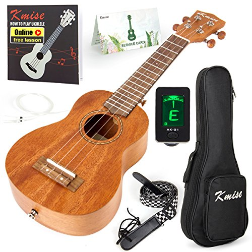 Kmise Soprano Ukulele 4 String Vintage Beginner Ukuleles Right Handed Natural Color 21 Inch Hawaiian Guitar With Starter Pack (Gig Bag Tuner Strap String Instruction Booklet) (KMU21S)