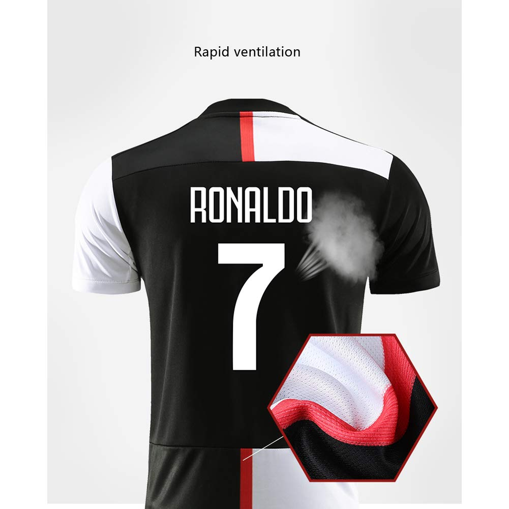 FRYP Abbigliamento e Pantaloncini da Calcio per Bambini e Ragazzi di Colore Verde Pjanic 5# Ronaldo7# Marchisio 8# Higuain 9# Dybala 10# D.Costa 11# 19-20 Juventus.