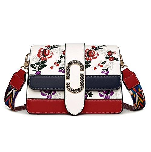 Handbag Bag Messenger Bag Ladies Handbag Shoulder Bag Summer Broadband Retro Ethnic Style Embroidery + (color: Black) White