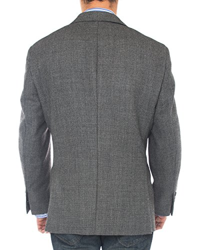 Luciano Natazzi Mens 2 Button 160'S Wool Blazer Working Button Holes Suit Jacket (44 Regular US / 54 Regular EU, Charcoal) by Luciano Natazzi (Image #2)