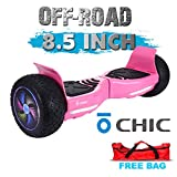 Chic UL 2272 Certified 8.5' All Terrain Offroad Hoverboard Smart Balance Scooter LED with Bluetooth Free Bag Pink Color HB-Z13-PINK