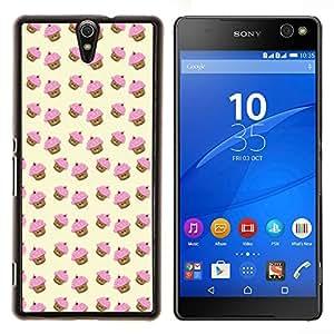 Dragon Case - FOR Sony Xperia C5 Ultra - muffin cupcake yellow pink pattern cute - Caja protectora de pl??stico duro de la cubierta Dise?¡Ào Slim Fit