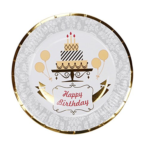 - Geeklife Noble Gold Birthday Plates, Metallic Gold Border 9 inch Paper Dessert Plates, Elegant Decorative Plates Set, 20 count