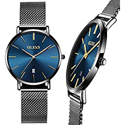 Womens Watch Ultra Thin,Black Mesh Stainless Steel Women Watch, Woman Blue Watch with Date,Simple Luxury Wrist watch for Women,Lady Casual Dress Watch Water Resistant,Ladies Watches on Clearance Prime