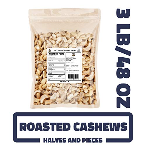 Just Roasted Cashews Halves & Pieces 3 LB SPECIAL (Dry-roasted, Un-salted, Healthy, Halves and Pieces, Non-GMO, Glueten-Free, Low Calories) (KOSHER CERTIFIED)