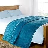 Dreamscene Luxurious Throw Blanket, Teal, King, 200 x 240 cm
