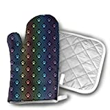 Dog Paw Print with Diamond Shaped Oven Mitts Gloves 2 Set Microwave BBQ Oven Cotton Baking Pot Mitts, Kitchen Glove Heat Resistant Cook Gloves Mitts Cooking, Baking, Barbecue Potholder, Present