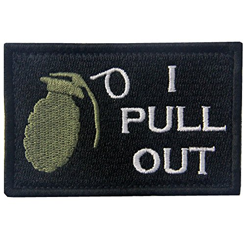 Tactical I Pull Out Funny Military Patch Embroidered Applique Army Morale Hook & Loop Emblem