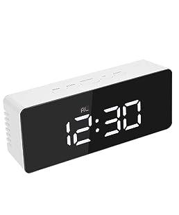 Pumsun LED Mirror Clock,Multi Functional Digital Alarm Night Lights Thermometer (White)