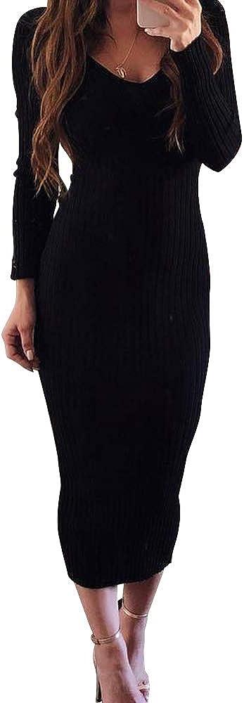 Ladies Long Sleeves Bodycon Midi Dress Womens Scoop Neck Party Wear Dress Top