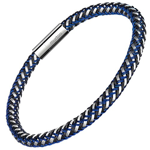 murtoo Mens Bracelet Stainless Steel - Braided Leather Bracelet for Men with Magnetic Clasp 8.27