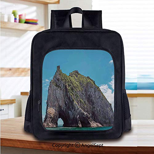 Preschool Backpack for Kids Girls Toddler,Famous Elephant Shape Rock with the Grand Hole in Bay of Islands Nz Cavern Peace Photo Kindergarten Primary School Bookbags,Blue Grey
