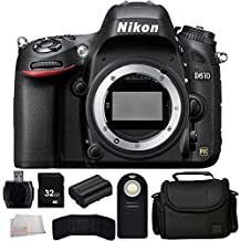 Nikon D610 24.3 MP CMOS FX-Format Digital SLR Camera (Body Only) - International Version (No Warranty) + 32GB Bundle + 7PC Accessory Kit. Includes 32GB Memory Card + High Speed Memory Card Reader + Extended Life Replacement Battery (EN-EL15) + Memory Card Wallet + Wireless Remote + Carrying Case + Microfiber Cleaning Cloth
