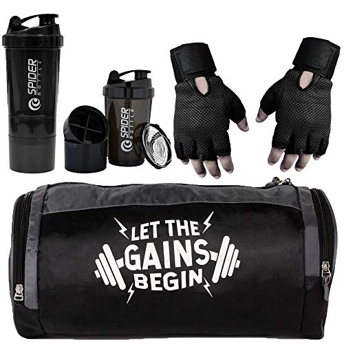 5 O' CLOCK SPORTS Combo of Gym Bag with Shoe Compartment,Gym Gloves and Spider Shaker Bottle(Black) Gym & Fitness Kit