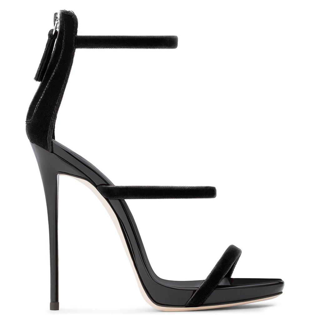 LYY.YY Sandalias De Cuero De Charol De Tacón Alto De Las Mujeres Zapatos De Moda Zapatos De Tacón De Aguja De Estilete Talón Abierto del Tacón Alto (Altura del Tacón: 11-13Cm),Black,42 42 Black