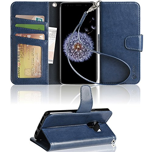 Arae Case Compatible for Samsung Galaxy S9, [Wrist Strap] Flip Folio [Kickstand Feature] PU Leather Wallet case with ID&Credit Card Pockets [Not for Galaxy S9 Plus] - Blue