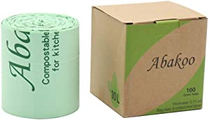 Abakoo 100% Compostable Trash Bags, Food Scrap Small Kitchen Trash Bags, Biodegradable Trash Bags ASTM D6400, BPI/EU OK Compost Home Certified, 2.6 Gallon, 10 Liter, 100 Count, Extra Thick 0.71 Mils