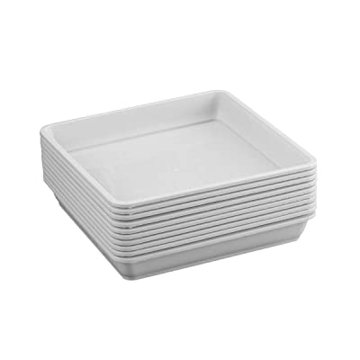 Yardwe 10 PCS Square Plastic Plant Saucer Tray Plant Pot Saucer Flower Pot Tray for Garden Potted Water Drips and Soil 5.9 x 5.9 x 1.1 Inch (White) : Garden & Outdoor