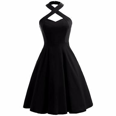 Shanxing Damen Neckholder Kleid Rockabilly 1950er Cocktail Party ...