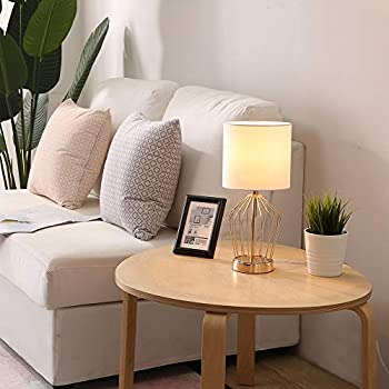 SOTTAE Hollowed Base Golden Bedroom Livingroom Bedside Table Lamp, Table Lamps With White Fabric Shade