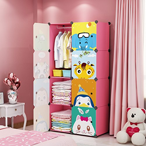 MAGINELS Magicial Panels Kids Dresser Portable Closet Wardrobe Children Bedroom Armoire Clothes Hanging Storage Rack Cube Organizer, Large & Study, Pink, 6 Cubes & 1 Hanging Section