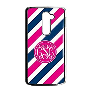Customized Case for LG G2 AT&T Pink Circle Monograms Tilt Pink and Blue Stripes with Best Plastic Black ALL MY DREAMS