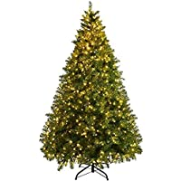 Pre-Lit Christmas Tree Artificial PVC Spruce Hinged with 560 LED Lights and Solid Metal Legs for Christmas Home Decoration Party Supplies (7ft)