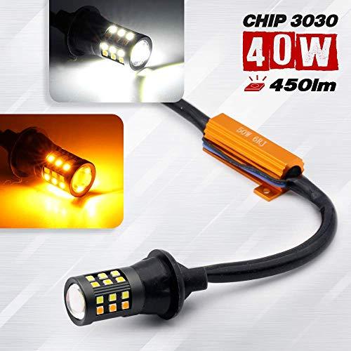 2 Bulbs Error-Free 7443 Type-2 Switchback Turn Signal/DRL LED Light Bulb (3157/7443/1157) (7443, White/Amber)