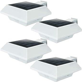 8Stk.6LEDs Solar Powered Außenlampe Dachrinnen Zaun Wandlampe Licht Beleuchtung
