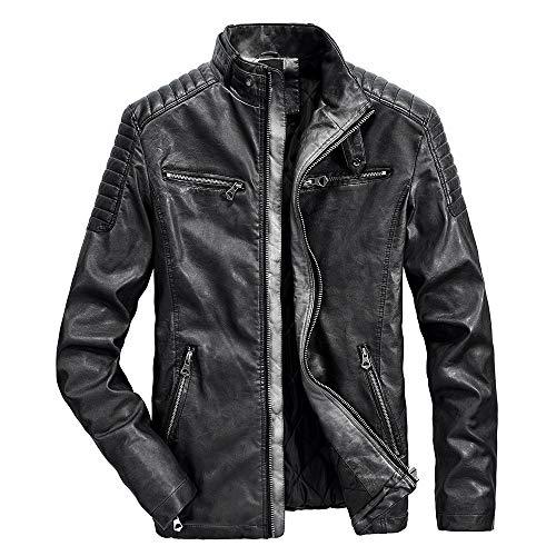Vintage Warm Clothes, Simayixx Men's Biker Leather Jacket Short Lambskin Zipper Closure Winter Cover Ups
