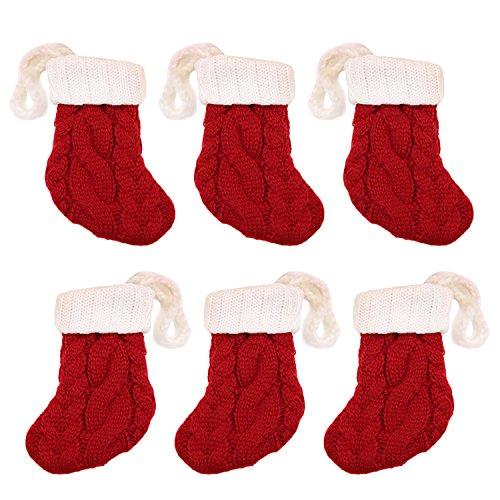 6PCS Christmas Stockings Knitting Sock - Gosear Mini Xmas Knitted Santa Sock Style Silverware Knife Fork Spoon Tableware Holder Pocket Bags Christmas Decorations Christmas Stocking Sock