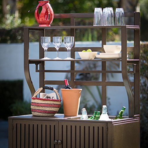 Contemporary Style, Modern Metal Chestnut Brown Finish Outdoor Potting Bench 42''W x 23''D x 72''H With Storage and 2 Slatted Shelves, 7 Hooks for Hanging Gardening Tools by Belham Living (Image #8)