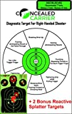 Concealed Carrier Diagnostic Shooting Targets, 12 x 18-Inch, (20 Pack) with 2 Reactive Shoot And See Paper Pistol Silloute Targets for Handguns - Right-Handed Shooter