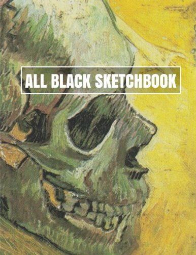All Black Sketchbook: Van Gogh Skull Painting (Journal, Diary) 8.5 x 11, 100 Pages