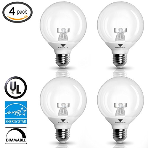 TriGlow 40 Watt Equivalent G25 LED Bulbs, 6W Warm white 3000K Vanity Globe Bulbs Clear Cover, Dimmable UL Listed and Energy star certified